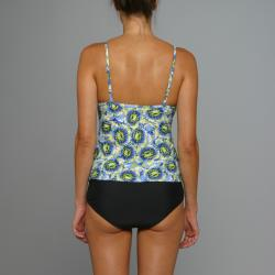 Island Love Young Missy 1-piece Blue Floral Faux Tankini