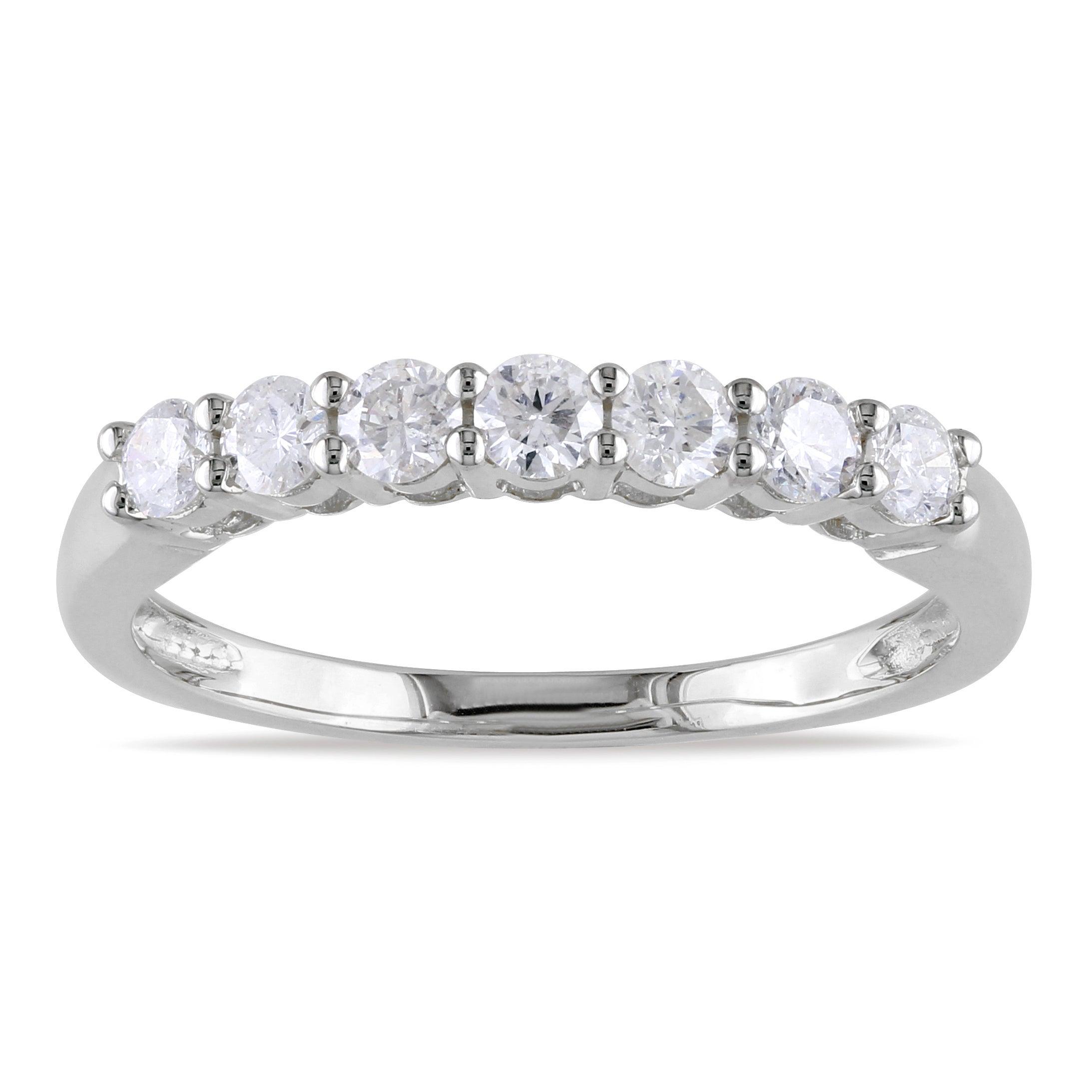 Miadora 14k White Gold 1/2ct TDW IGL-certified Diamond Semi Eternity Ring (G-H, SI1-SI2)
