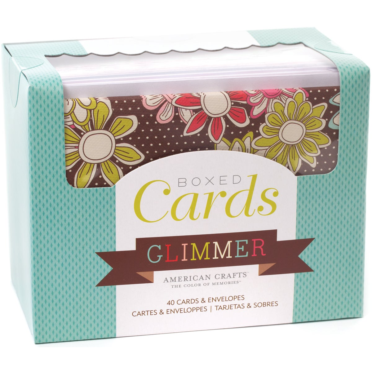 """Box Of Patterned Cards With Envelopes 4""""X6"""" 40/Pkg-Glimmer"""