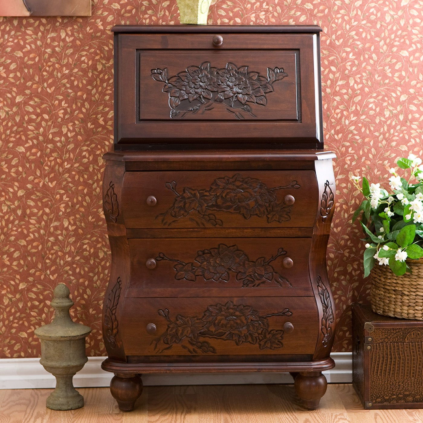Chelsea Walnut Carved Drop Front File Desk