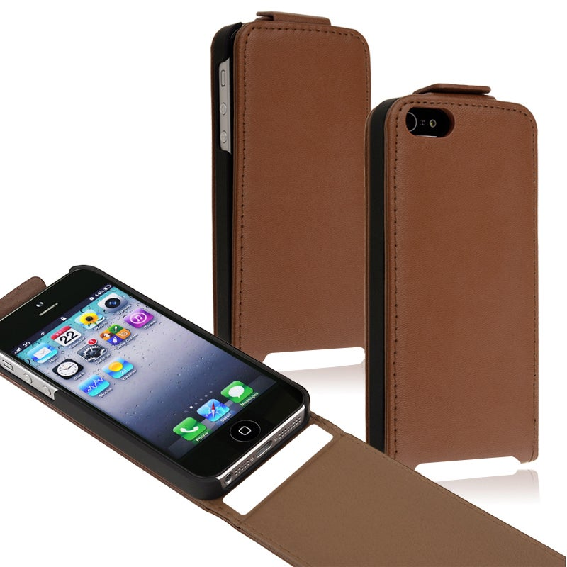 BasAcc Brown Snap-on Leather Case for Apple iPhone 5