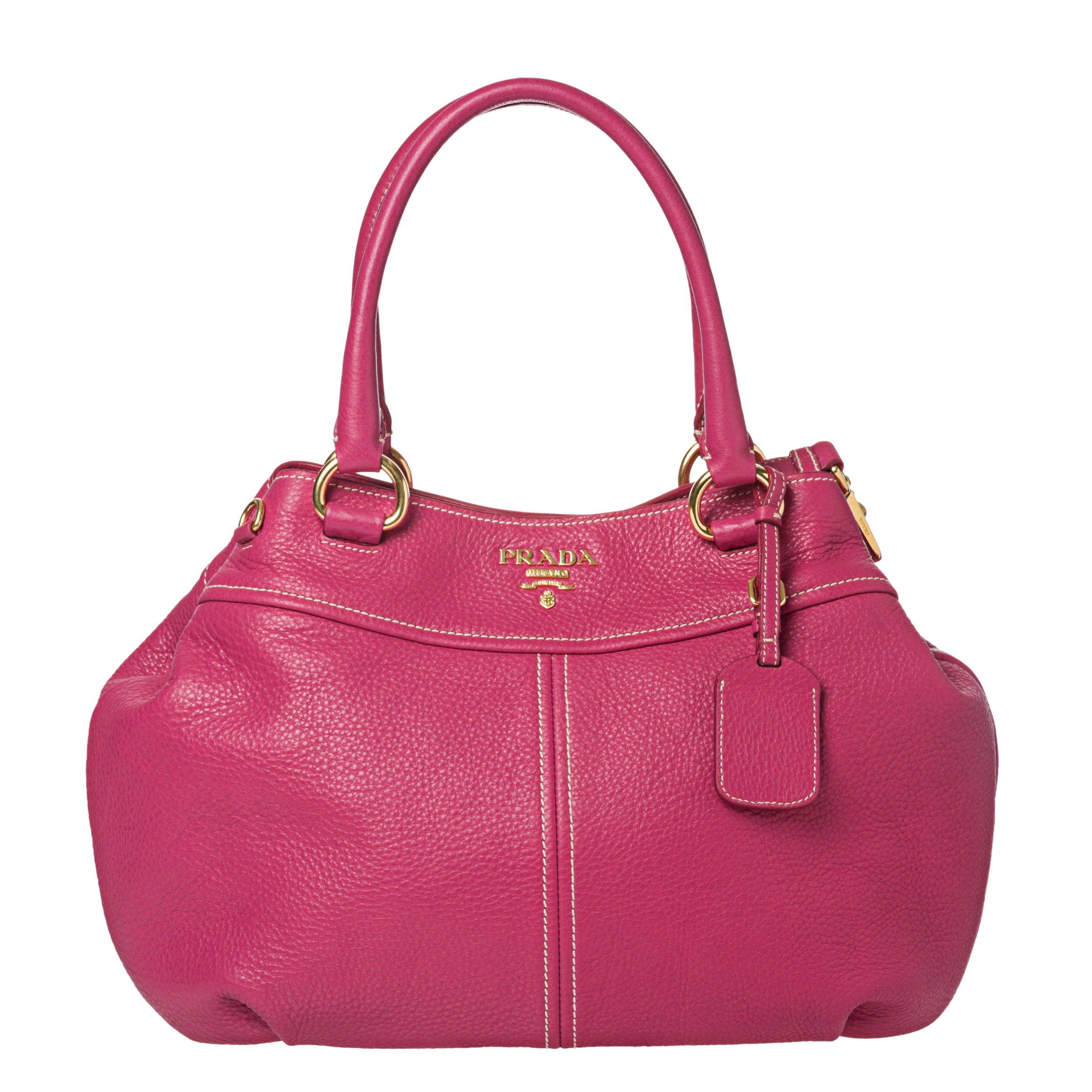 Prada Pink Leather Double Handle Hobo Bag