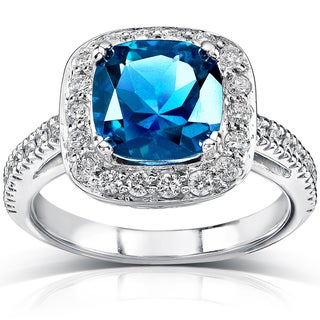 14k White Gold London Blue Topaz and 1/2 ct TDW Diamond Ring (H-I, I1-I2)