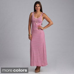 Tabeez Women's Sleeveless Striped Maxi Dress