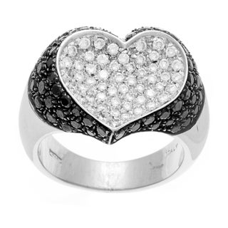 Pre-owned 18k Gold 2 3/4ct TDW Black and White Diamond Heart Estate Ring (G-H, SI1-SI2)