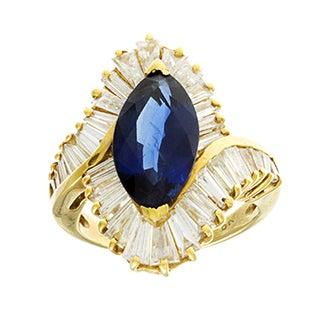 Pre-owned 18k Gold Sapphire and 3 1/2ct TDW Diamond Ballerina Estate Ring (G-H, VS1-VS2)