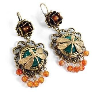 Sweet Romance Dragonfly Vintage Carved Glass Earrings