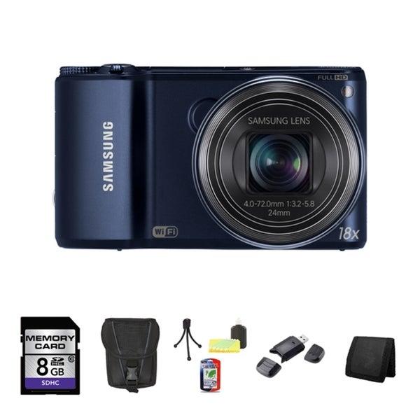 Samsung WB200F Smart 14.2MP Cobalt Black Digital Camera 8GB Bundle