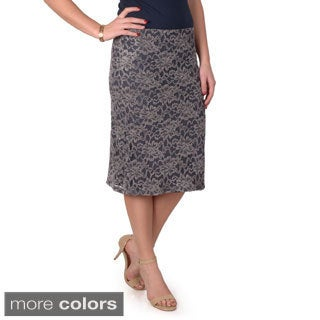Timeless Comfort Women's Lace Detail Straight Skirt