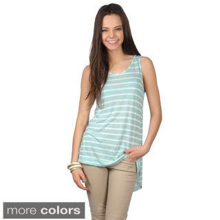 Journee Collection Women's Striped Sleeveless Hi-lo Top