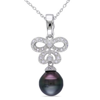 Miadora Sterling Silver Tahitian Pearl 1/6ct TDW Diamond Necklace (I2-I3)