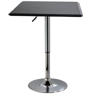 AmeriHome Modern Matte Black Square Adjustable Table