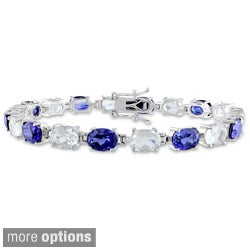 Miadora Sterling Silver Sapphire and Blue or White Topaz Bracelet