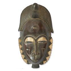 Handcrafted Sese Wood 'Male Baule Fertility Mask' African Mask (Ghana)