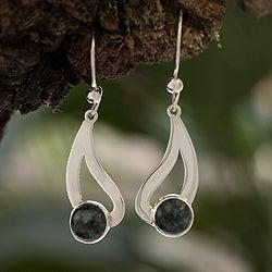 Sterling Silver 'Glistening Rain' Jade Earrings (Guatemala)