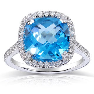 10k White Gold Blue Topaz and 1/3 ct TDW Halo Diamond Ring (H-I, I1-I2)