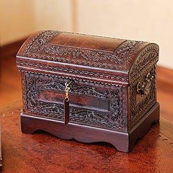 Mohena Wood and Leather 'Colonial Treasure' Jewelry Box (Peru)