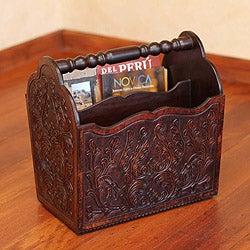 Mohena Wood and Leather 'Colonial Splendor' Magazine Rack (Peru)