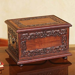 Mohena Wood and Leather 'Andean Elegance' Jewelry Box (Peru)