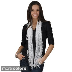 Hailey Jeans Co Women's Floral-Pattern Lace-Detail Viscose Scarf