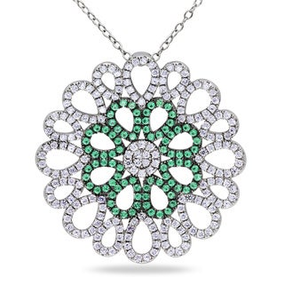 Miadora Sterling Silver Green and White Cubic Zirconia Flower Necklace