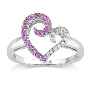 Miadora 10k White Gold Pink Sapphire and Diamond Heart Ring