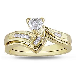 Miadora 14k Yellow Gold 1/3ct TDW Trillion Diamond Bridal Set (G-H, SI1-SI2)