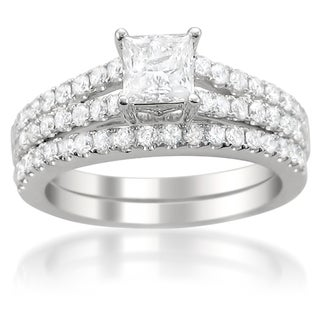 14k White Gold 1 1/2ct TDW Diamond Split Shank Bridal Ring Set (G-H, I1-I2)