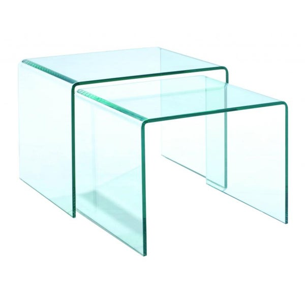 Magnussen Home Furnishings Lumeno Clear Glass Nesting End Table