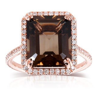 10k Rose Gold Smokey Quartz and 3/8ct TDW Diamond Halo Ring (H-I, I1-I2)