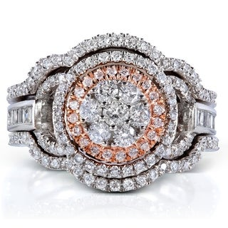 Annello 14k Two-tone Gold 1ct TDW Diamond 3-piece Bridal Ring Set (H-I, I1-I2) with Bonus Item