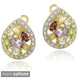 Glitzy Rocks Two-tone Multi-gemstone and Diamond Accent Teardrop Earrings