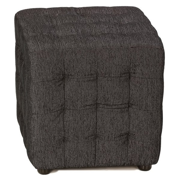 Cortesi Home Black Fabric with Silver Lining Tufted Ottoman