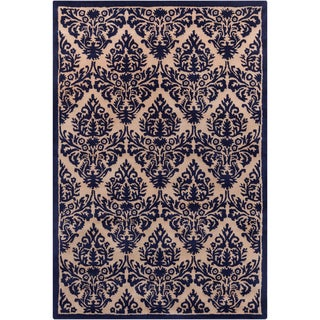 Hand-tufted Allie Floral Blue/ Tan Wool Rug (5' x 7'6)