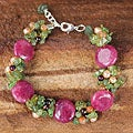 Multi-gemstone Pearl 'Peony Romance' Bracelet (4 mm) (Thailand)