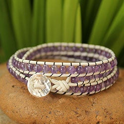 Leather and Amethyst 'Lilac Tulip' Bracelet (Thailand)