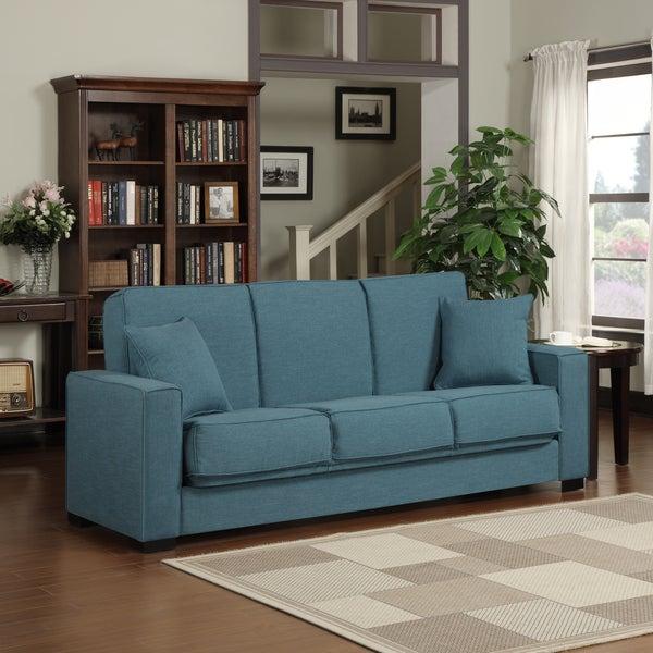 Portfolio Mali Convert-a-Couch Caribbean Blue Linen Futon Sofa Sleeper