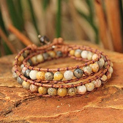 Handcrafted Jasper and Quartz 'River Mystique' Bracelet (Thailand)