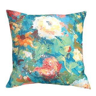 Indoor/ Outdoor Painted Floral Decorative Pillow