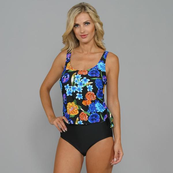 Island World Women's 'Bright Boquet' 1-piece Swimsuit