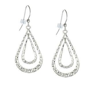 Jewelry by Dawn Double Teardrop Hammered Pewter Earrings