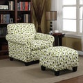Portfolio Mira Apple Green Modern Floral Arm Chair and Ottoman