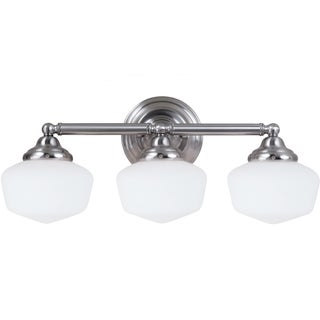 Academy 3-light Brushed Nickel Vanity Fixture with Satin White Schoolhouse Glass