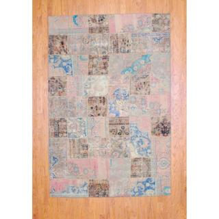 "Imported Pak Persian Hand-Knotted Patchwork Multicolored Wool Rug (5'10"" x 8'10"")"