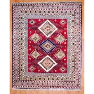 Afghan Hand-knotted Red/ Salmon Kazak Wool Rug (6' x 9') (India)