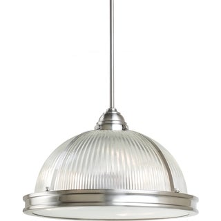 Pratt Street Prismatic 3-light Brushed Nickel Pendant with Prismatic Glass and Diffuser