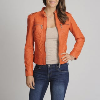 Bernardo Women's Orange Leather Scuba Jacket