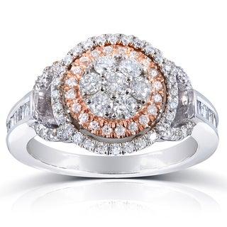 Annello 14k Rose/White Gold 4/5ct TDW Baguette Side Diamond Ring (H-I, I1-I2) with Bonus Item