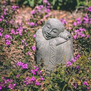 Volcanic Stone Resting Jizo Statuette (Indonesia)