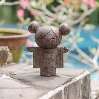 Volcanic Stone Open Heart Kokeshi Doll Statuette (Indonesia)
